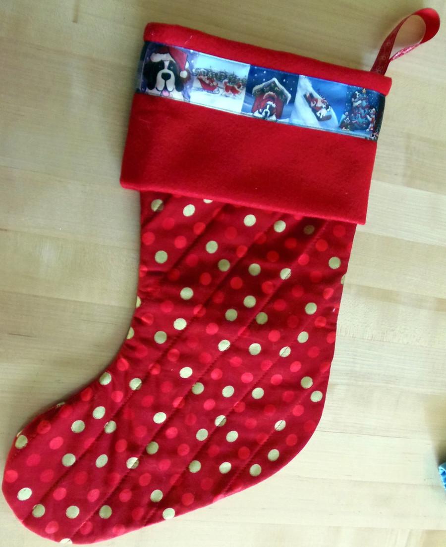 Saint Bernard Ribbon Quilted Christmas Stocking By Dawn Johnson