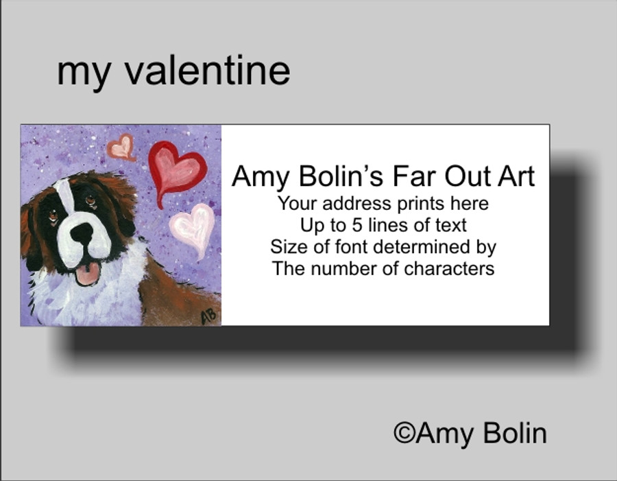 """Valentine's Day: My Valentine"" Saint Bernard Address Labels"