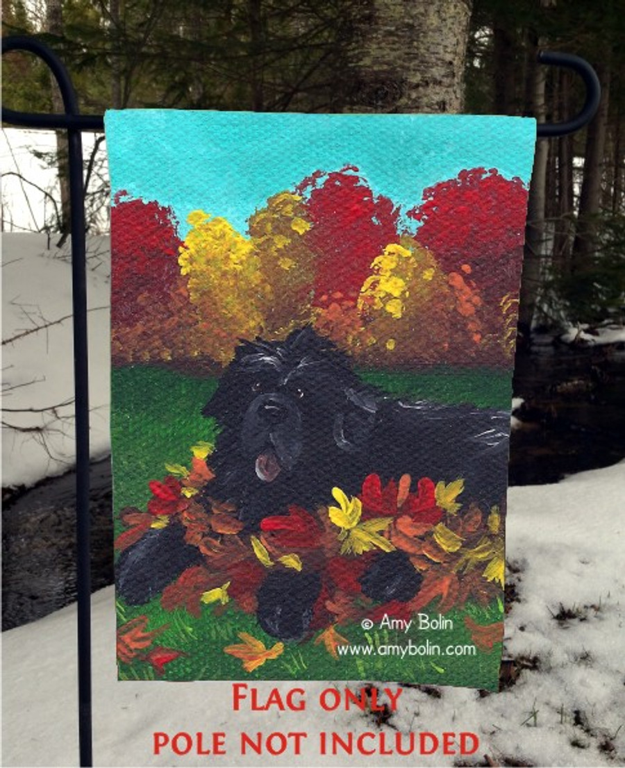 GARDEN FLAG · HAPPINESS IS A PILE OF LEAVES · BLACK NEWFOUNDLAND · AMY BOLIN