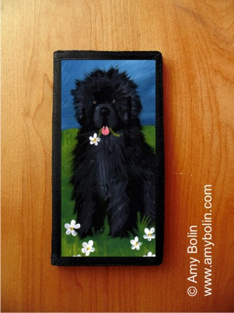 CHECKBOOK COVER · A FLOWER FOR MOM · BLACK NEWFOUNDLAND · AMY BOLIN