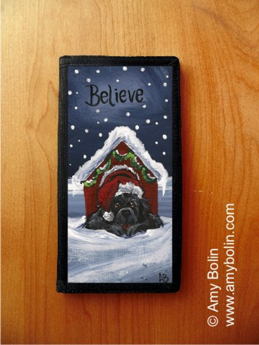 CHECKBOOK COVER · BELIEVE · BLACK NEWFOUNDLAND · AMY BOLIN