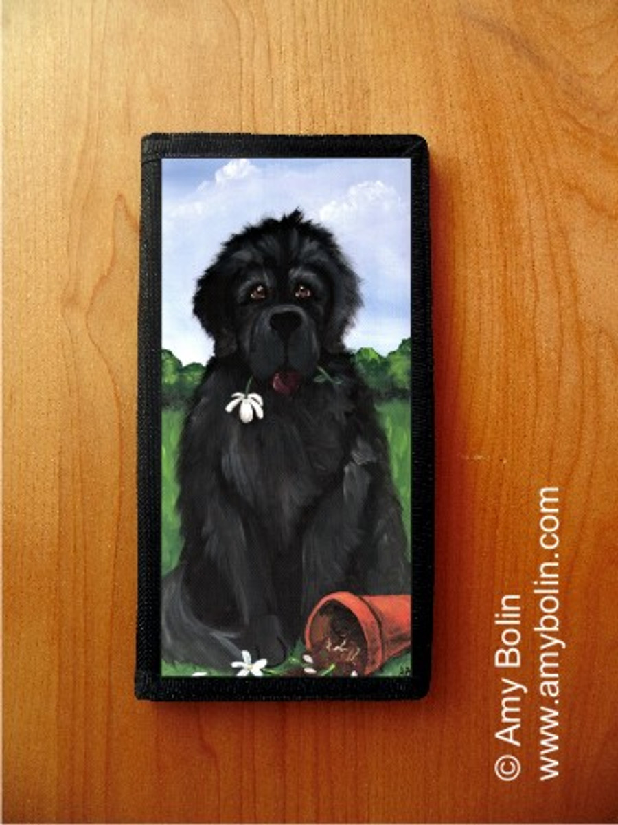 CHECKBOOK COVER · I SAW THIS FLOWER & THOUGHT OF YOU · BLACK NEWFOUNDLAND · AMY BOLIN