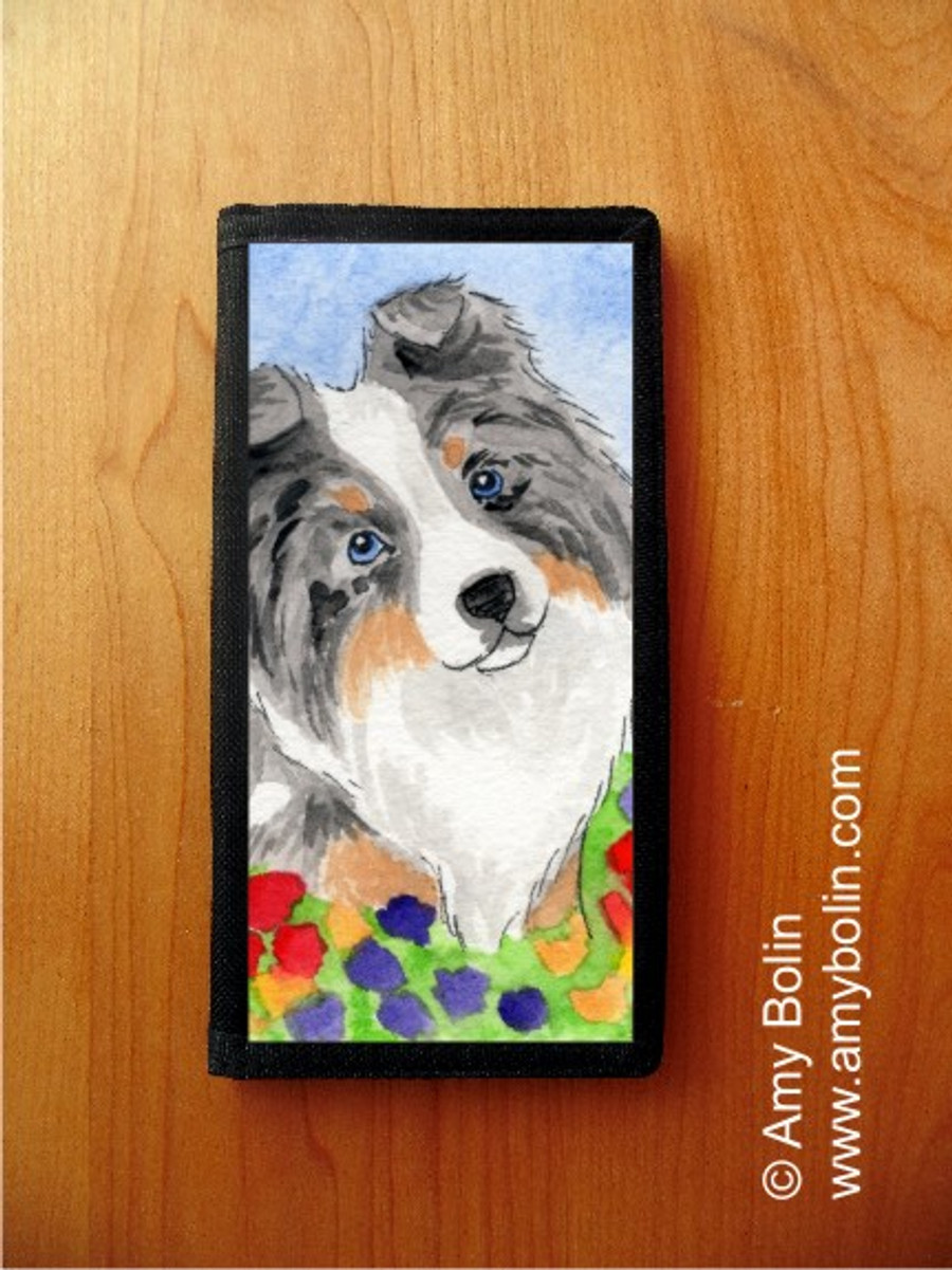 CHECKBOOK COVER · PUPPY LOVE · BLUE MERLE SHELTIE · AMY BOLIN