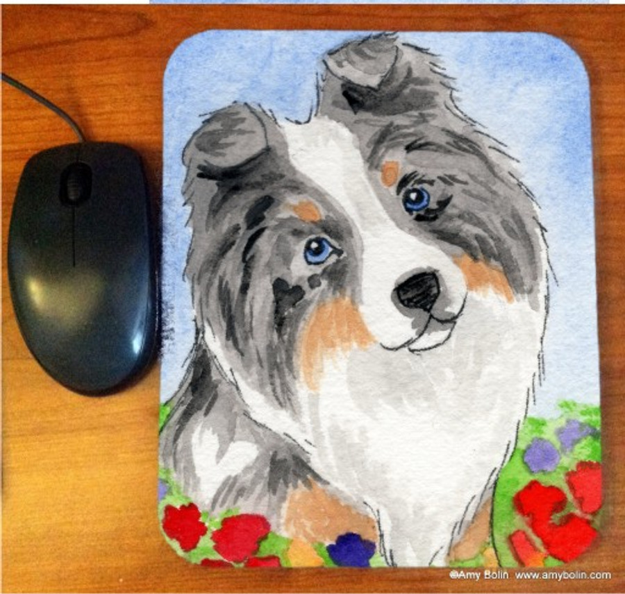 MOUSE PAD · PUPPY LOVE · BLUE MERLE SHELTIE · AMY BOLIN