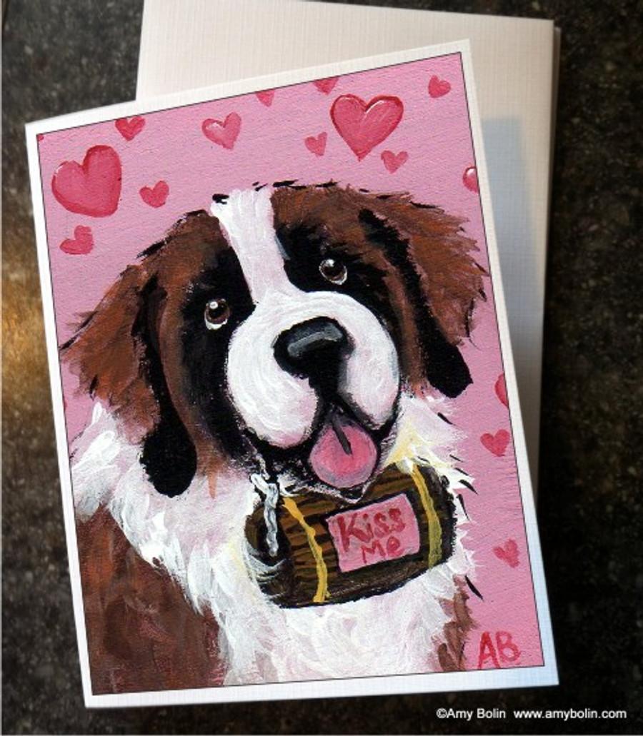 """Valentine's Day: Valentine Kisses"" Saint Bernard Note Cards"