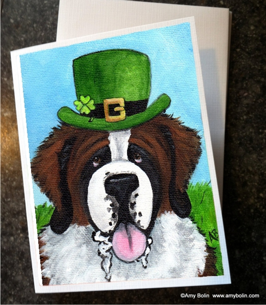 """St. Patrick's Day: A Big, Wet Irish Kiss"" Saint Bernard Note Cards"