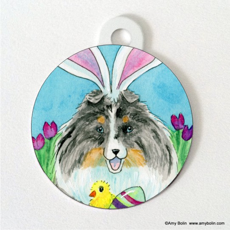 DOUBLE SIDED PET ID TAG · EASTER SHELTIE · BLUE MERLE SHELTIE · AMY BOLIN