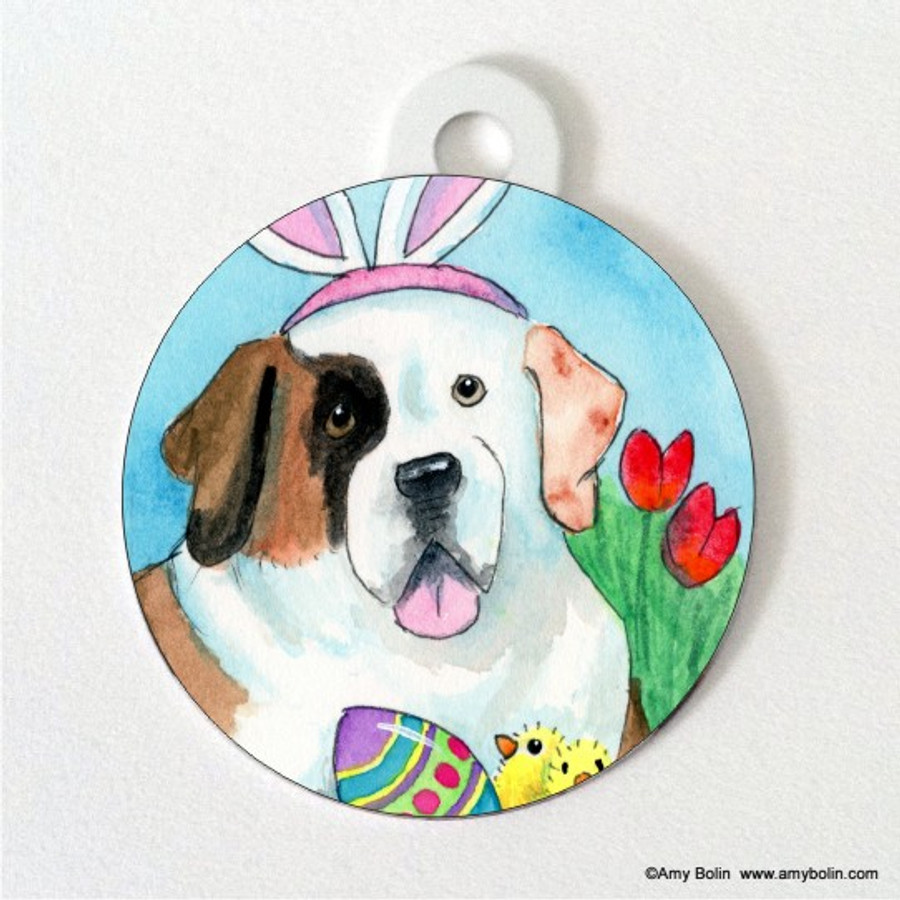 DOUBLE SIDED PET ID TAG · EASTER SAINT · HALF MASK SAINT BERNARD · AMY BOLIN