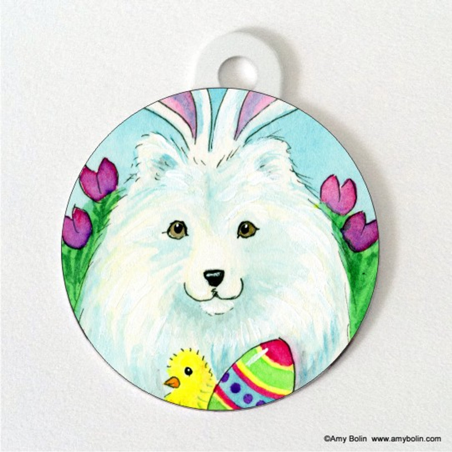 DOUBLE SIDED PET ID TAG · EASTER SAMMY · SAMOYED · AMY BOLIN