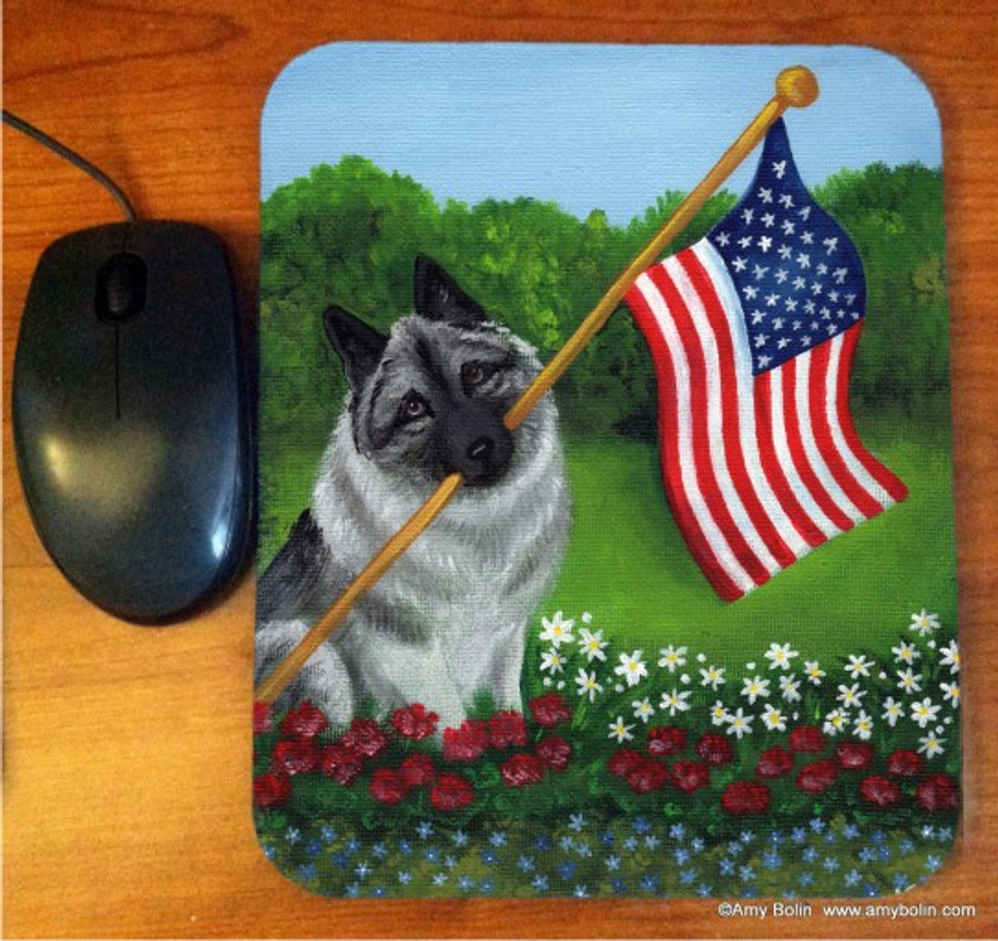 MOUSE PAD · PROUD TO BE AMERICAN · NORWEGIAN ELKHOUND · AMY BOLIN