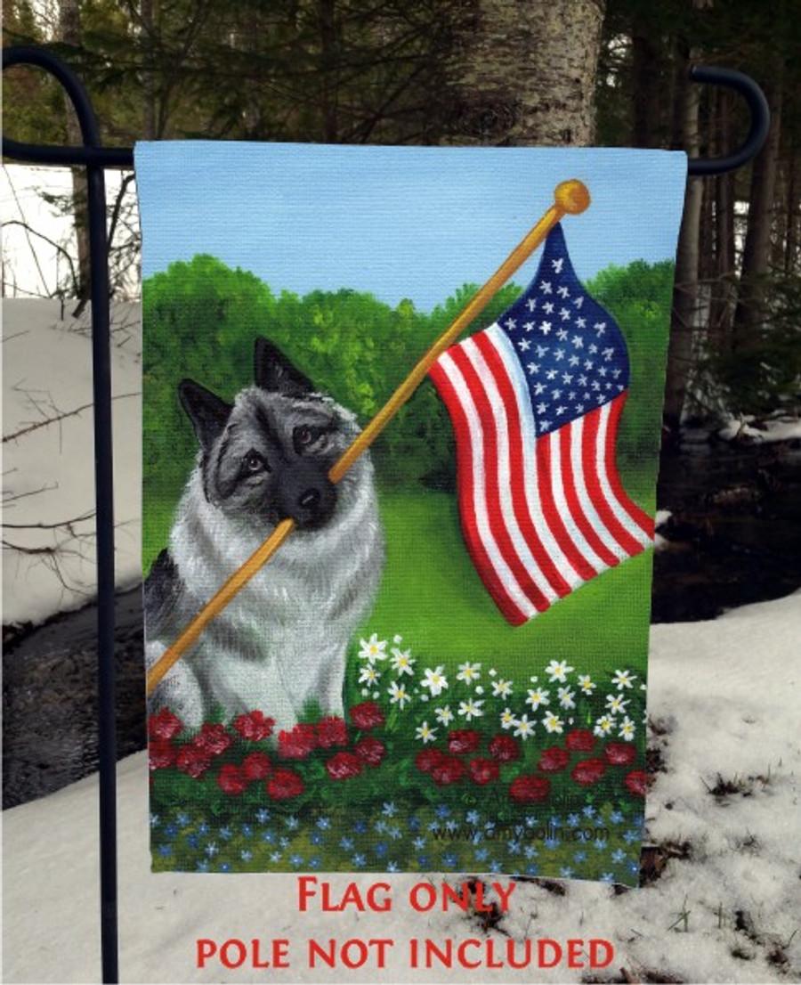 GARDEN FLAG · PROUD TO BE AMERICAN · NORWEGIAN ELKHOUND · AMY BOLIN