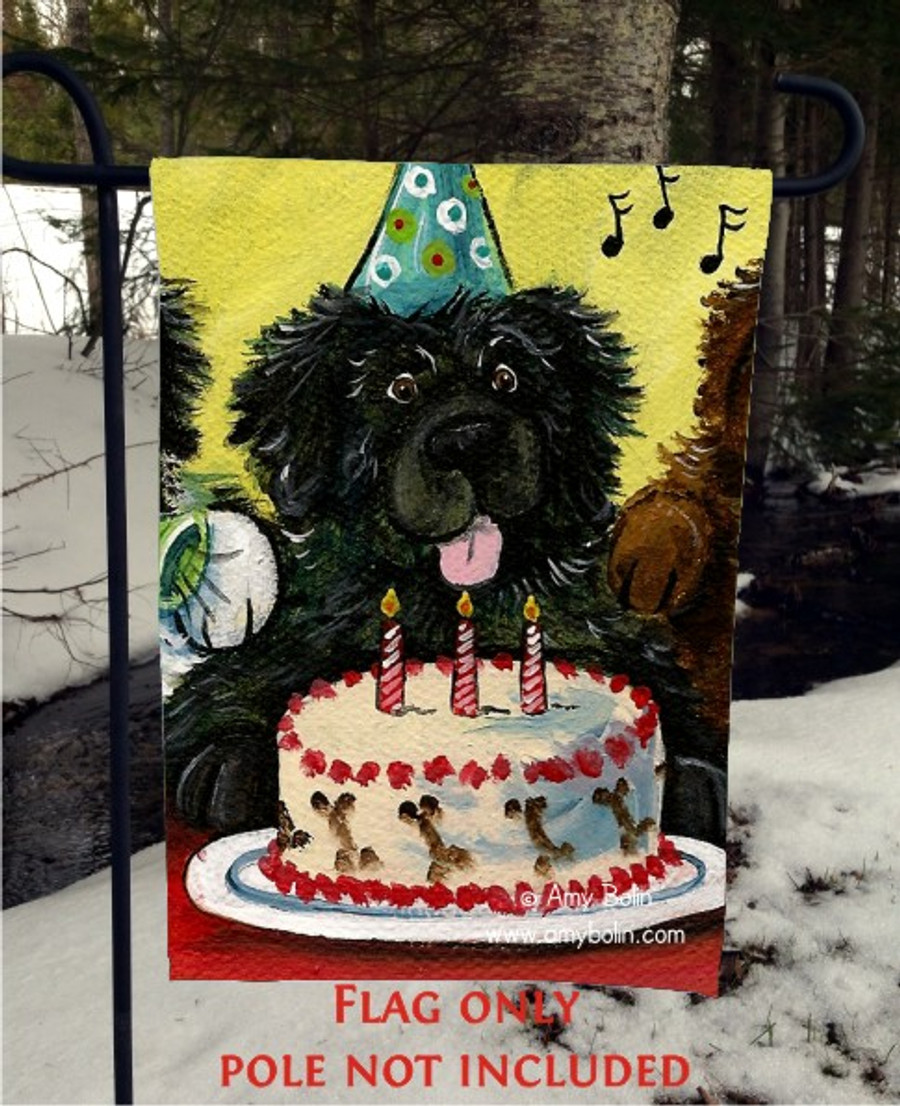 GARDEN FLAG · HAPPY BIRTHDAY TO YOU · BROWN, BLACK, LANDSEER NEWFOUNDLAND · AMY BOLIN