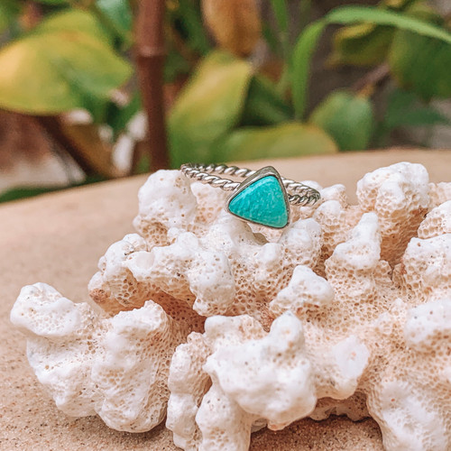 Dainty Triangle Turquoise Ring (Reserved)