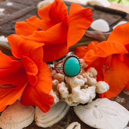 Kingman Turquoise Rope Ring (Reserved)