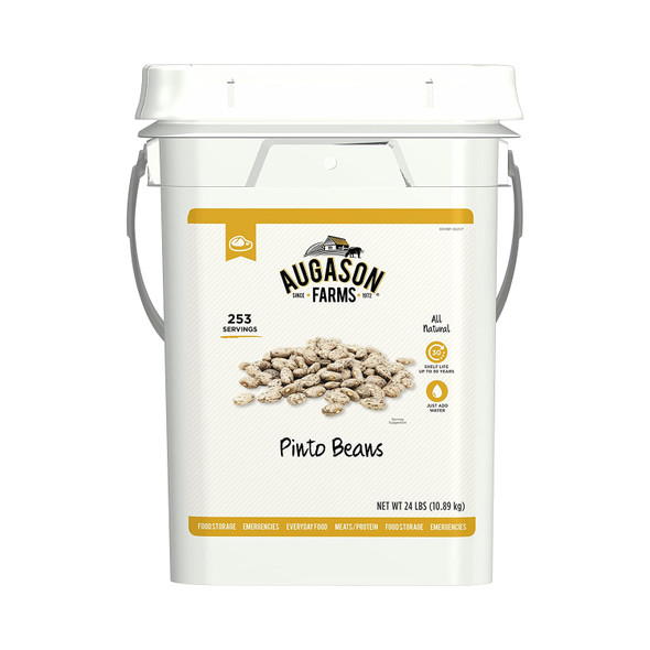 Augason Farms Pinto Beans Emergency Bulk Food Storage 4 Gal Bucket 253 Servings
