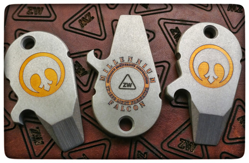 Laser etched and anodized strikeplate Ti falcons