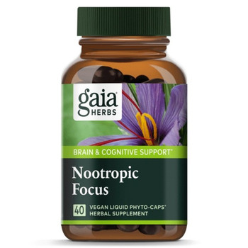 Gaia Herbs Nootropic Focus 40 Liquid Herbal Extract Capsules Extra Strength