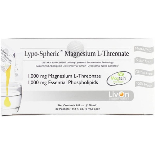 Lypospheric Magnesium L-Threonate 30 Packets 10000 mg
