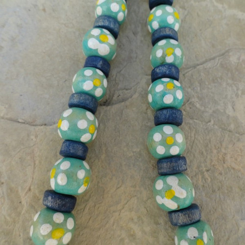 Teal Blue Flowers Rondell Round Wood 6x7-10 mm 16 in Bead Strand