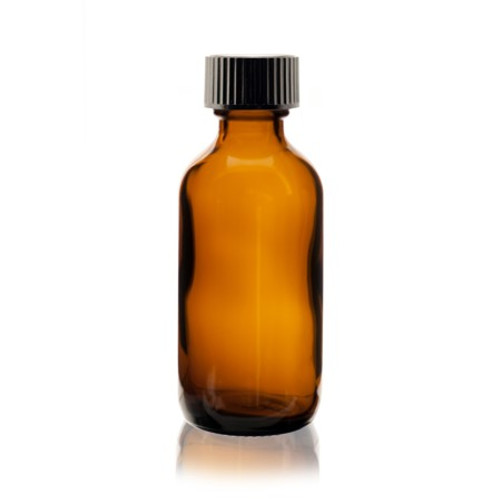 2 oz Amber Glass Bottle with Cap and Orifice Reducer