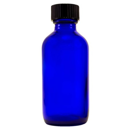 2 oz Cobalt Blue Glass Bottle with Cap and Orifice Reducer