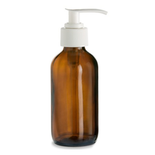 4 oz Amber Glass Bottle with Lotion Pump