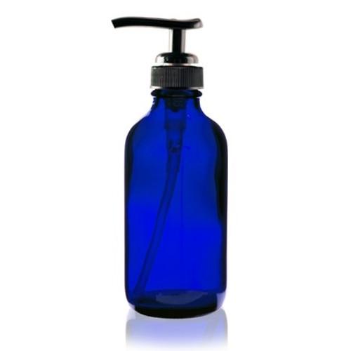 4 oz Cobalt Blue Plastic Bottle with Lotion Pump