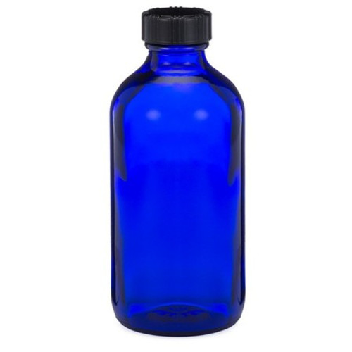 8 oz Cobalt Blue Glass Bottle with Phenolic Cap and Cone