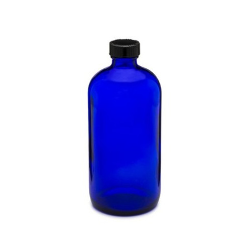 16 oz Cobalt Blue Glass Bottle with Phenolic Cap and Cone