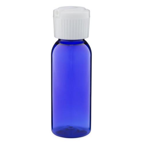 1 oz Cobalt Blue Plastic Bottle with Poly Flip Spout