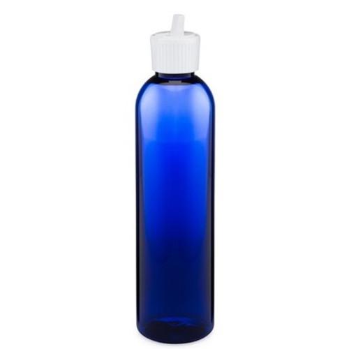 8 oz Cobalt Blue Plastic Bottle with Poly Flip Spout