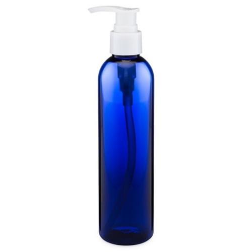 8 oz Cobalt Blue Plastic Bottle with Lotion Pump