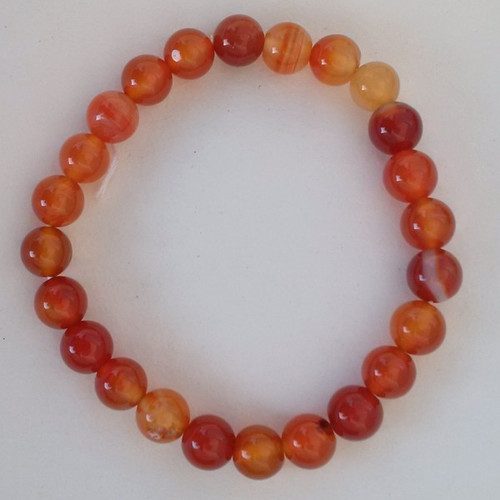 Carnelian Agate 8 mm Bead Round Stretch Bracelet