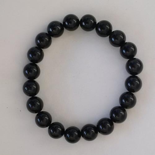 Tourmaline Black 8 mm Round Bead Stretch Bracelet