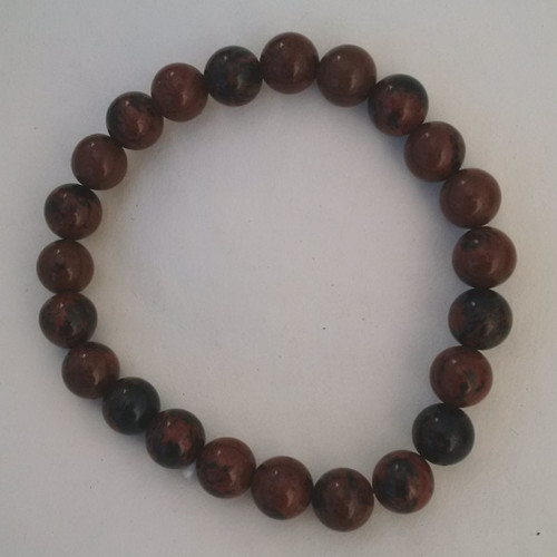Obsidian Mahogany 6-7 mm Round Bead Bracelet