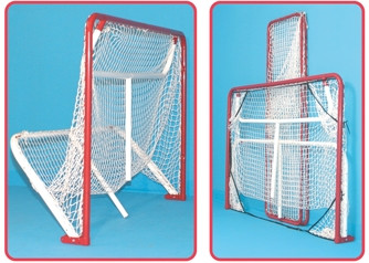 The EZ Goal 4'x6' Hockey Goal with Backstop Rebounder and Targets protects doors and windows from stray pucks and balls. Perfect to use as a hockey training net.