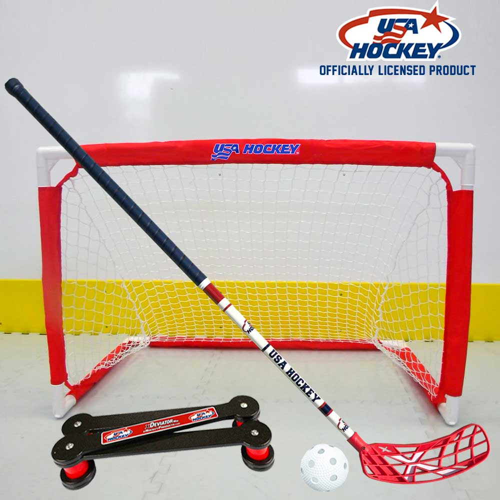 USA Hockey Folding Mini Hockey Goal, Floor Hockey Stick, xDeviator
