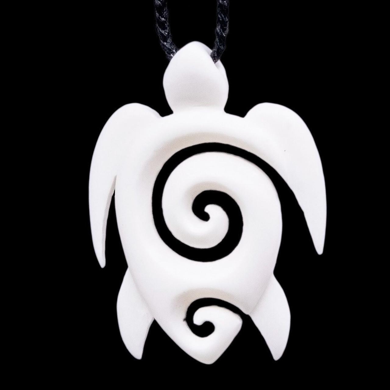 Hand Carved Bone Stylized Sea Turtle Necklace With Maori Koru Wbkt4733n