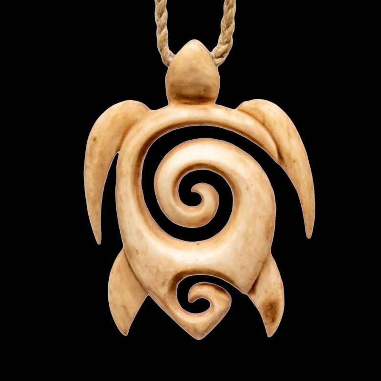 Antiqued Bone Sea Turtle Maori Inspired Koru Necklace Earthbound Kiwi