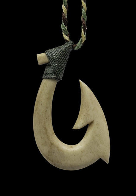Brown Carved Bone Hei Matau Stylized Maori Fish Hook on Braided Leather Cord Masculine Design Man/'s 19 inch Choker