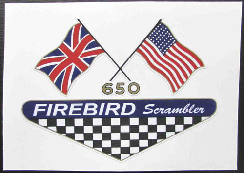 "BSA 650 FIREBIRD SCRAMBLER CUSTOM SIDE COVER DECAL 5.25"" X 3.75"""