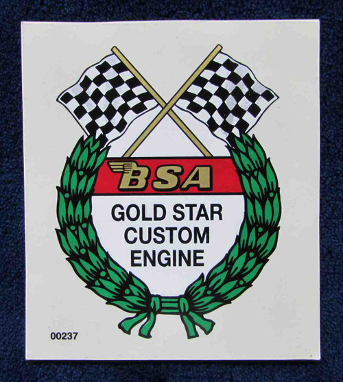 "BSA GOLD STAR CUSTOM ENGINE GAS TANK DECAL 2.5"" x 3"""