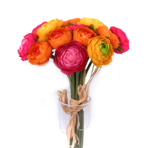 Ranunculus Bundle 14 Mini Orange/Yellow/Cerise Pink 27cm