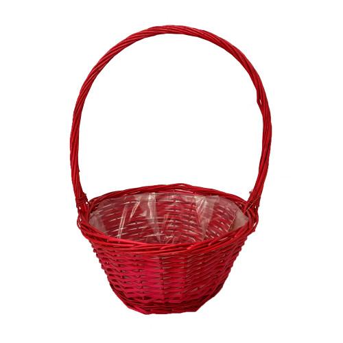Round Red High-Handled Basket 35cm