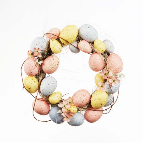 Egg Wreath With Flowers Easter Spring Decoration 28cm