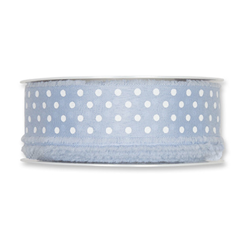 Fabric Ribbon Frayed Edge White Polka Dots 32mm Wide x 20m Roll Dusty Blue