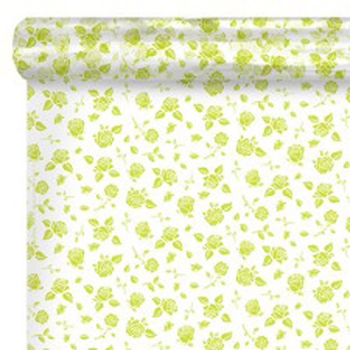 Cello Roll Clear with Lime Green  Roses