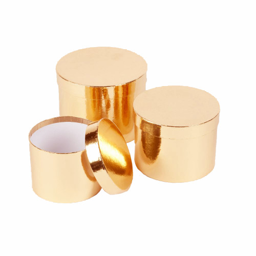 Hatbox Planter Round Metallic Finish Set of 3 Gold