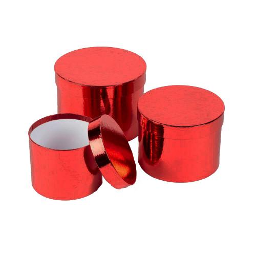 Hatbox Planter Round Metallic Finish Set of 3 Red