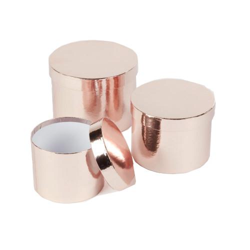 Hatbox Planter Round Metallic Finish Set of 3 Rose Gold